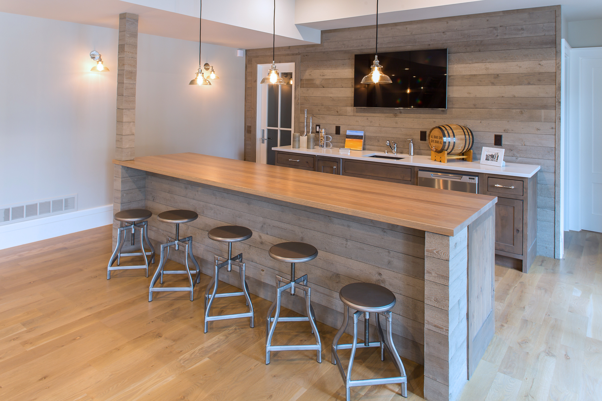 Stained Home Bar Cabinets in Driftwood
