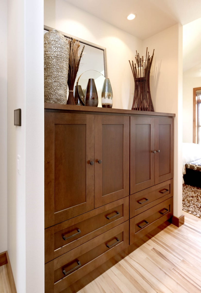 Stained master bedroom cabinets in Harvest and Autumn