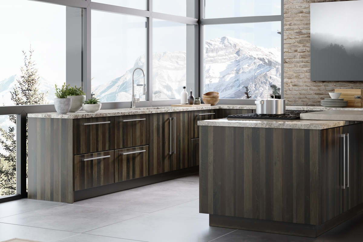 Slab style kitchen cabinets with mountain view in Papa's Loft textured melamine and Gauntlet Gray