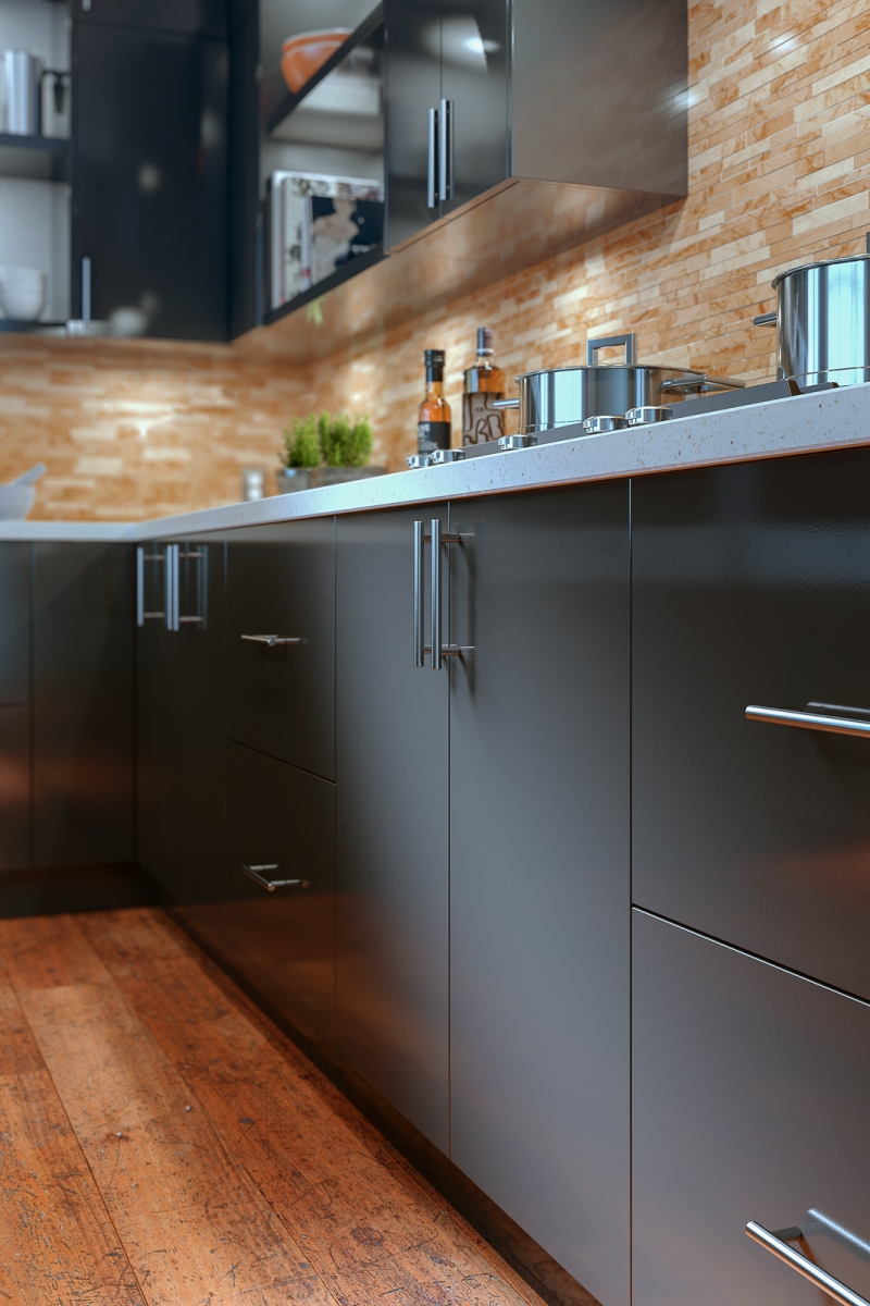 Slab style kitchen cabinets in Graphite high-gloss acrylic