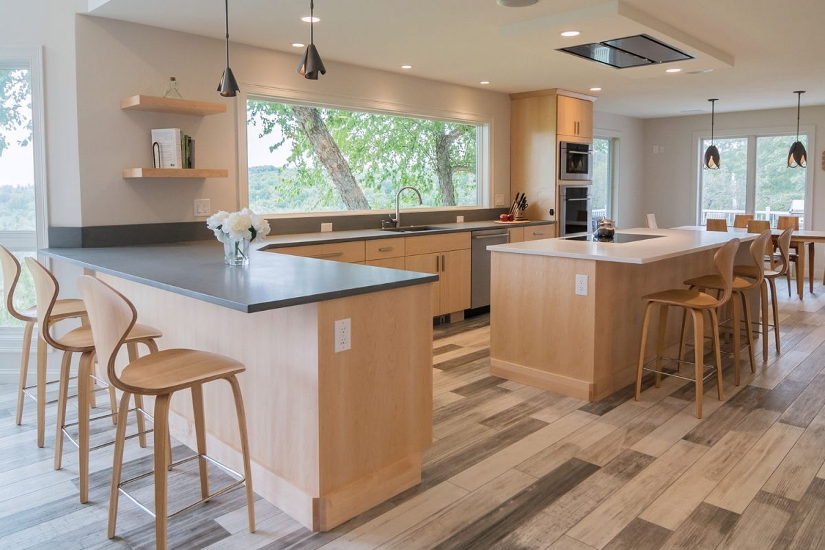 Kitchen cabinets in natural maple