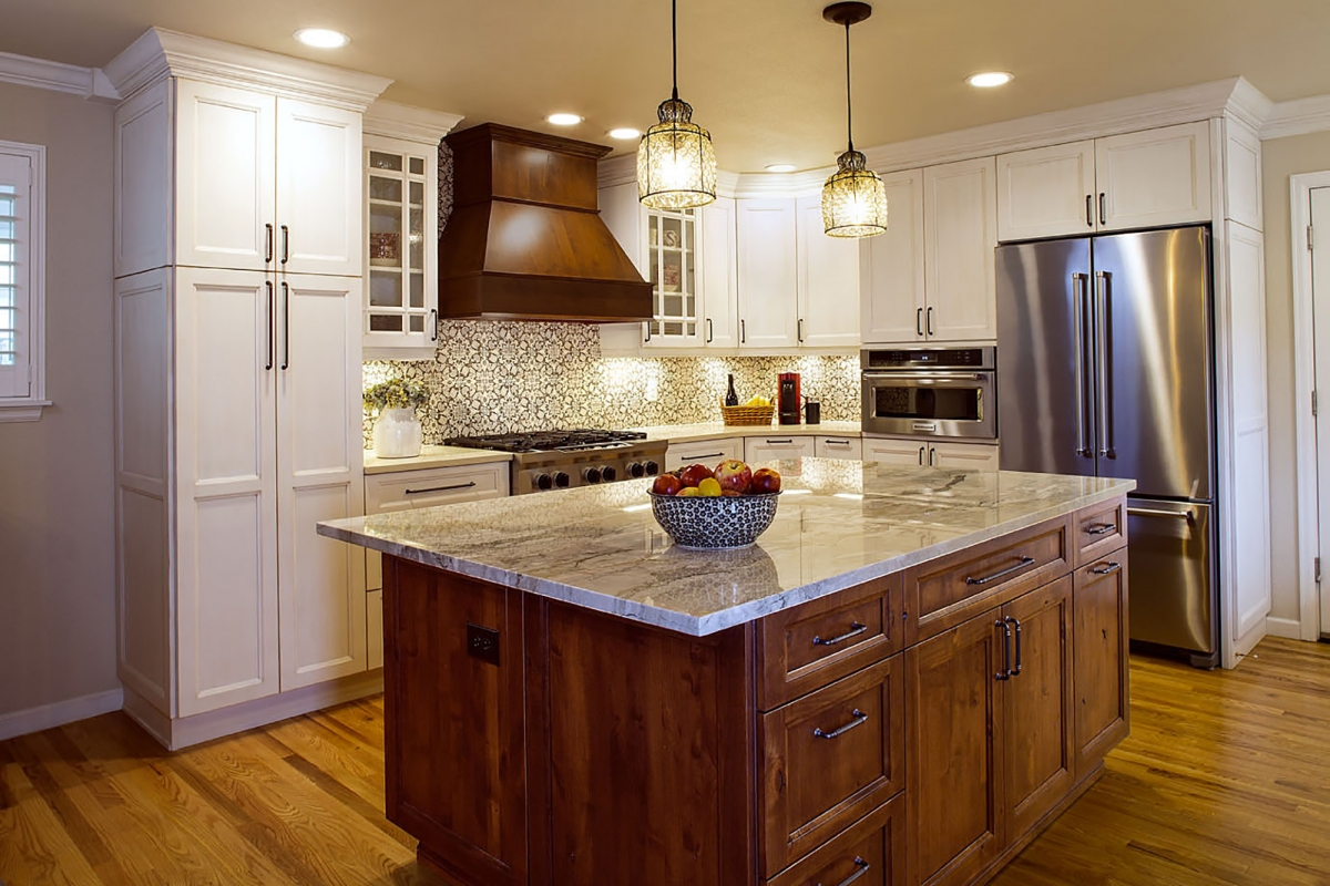 Painted kitchen cabinets in Extra White and stained island in Russet