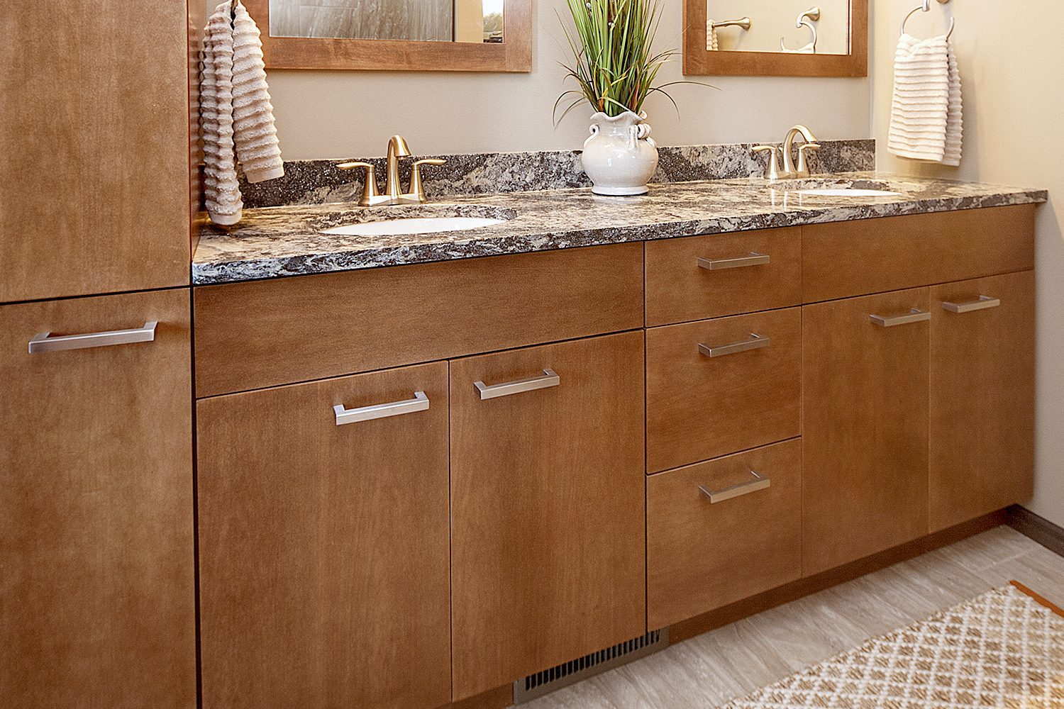 Stained Master Bathroom Cabinets in Pecan