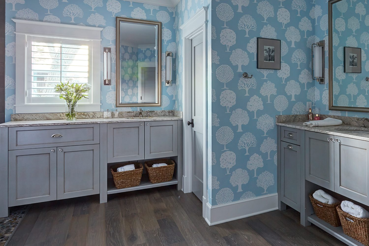 Painted master bathroom cabinets in Estate Gray with Walnut glaze