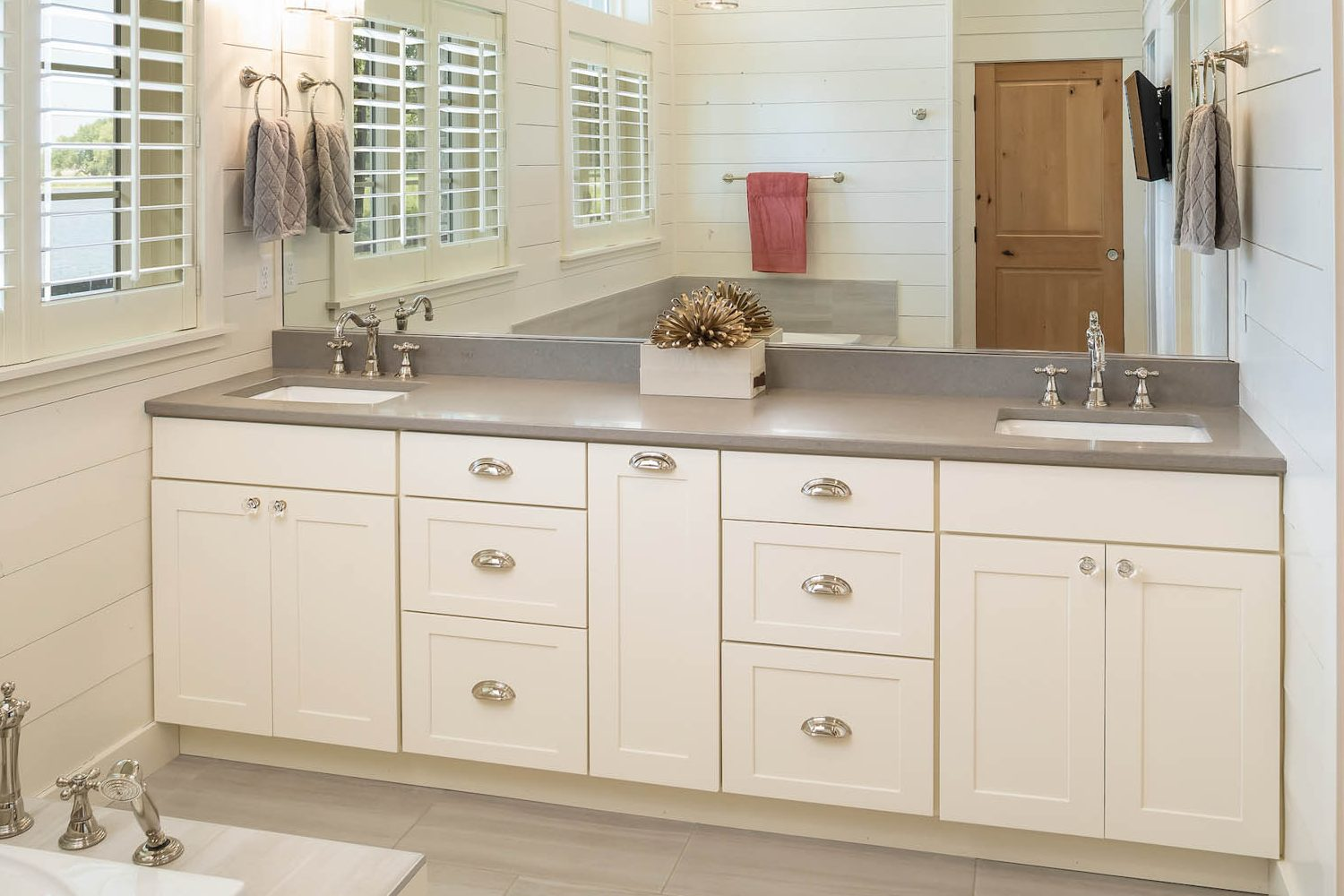 Painted master bathroom vanity in Soft Cream