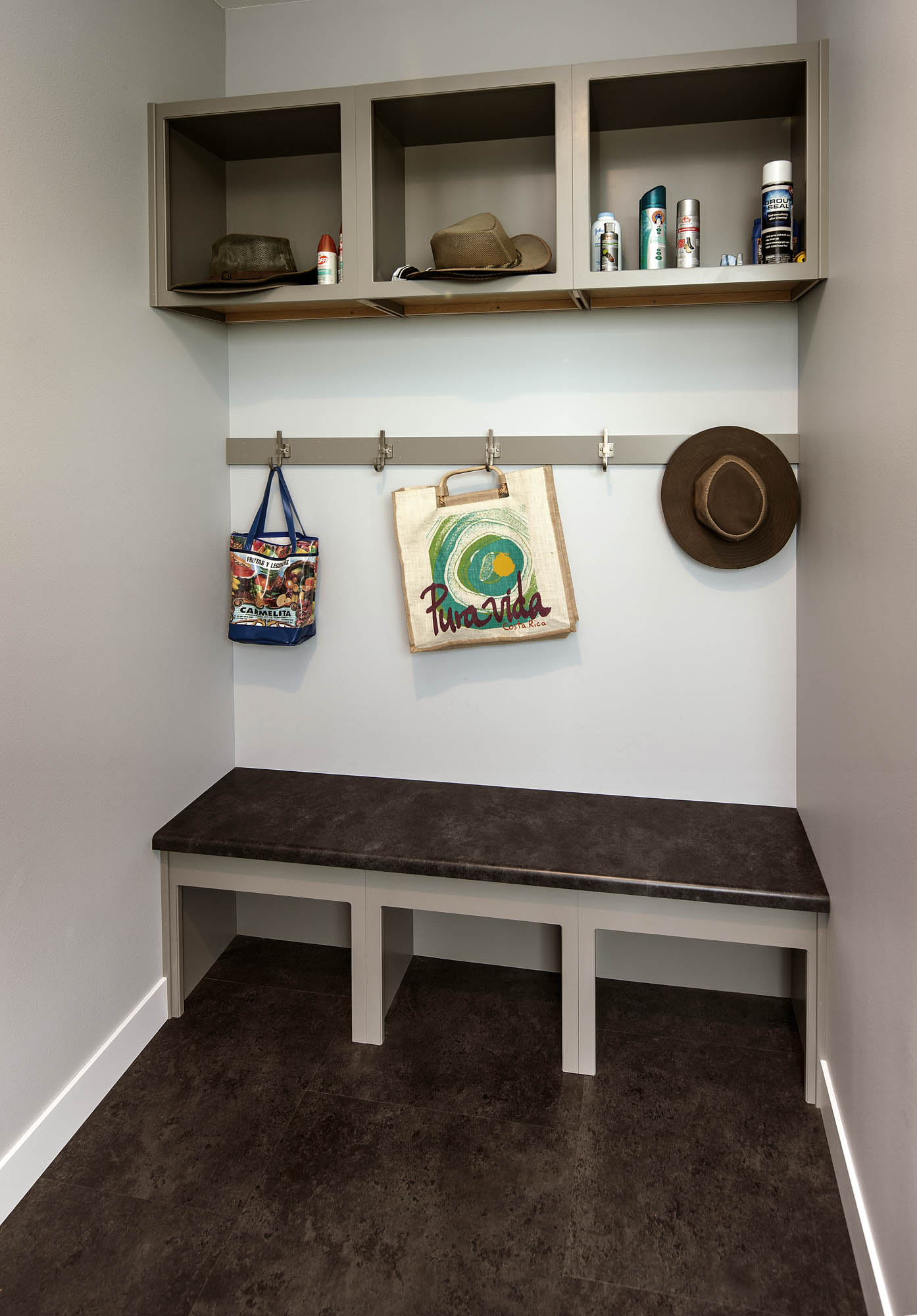 Painted mudroom cabinetry in Dovetail