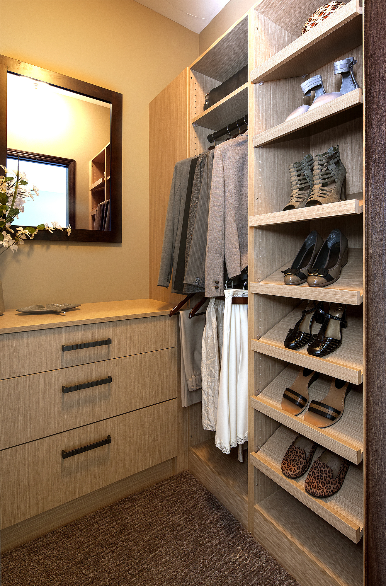 Textured Closet Cabinets in Rift White Oak